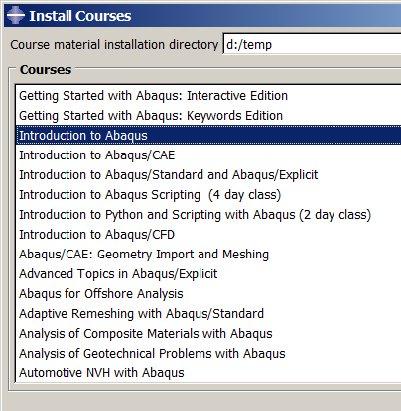 Install Courses Dialog Box