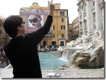 tim throwing coin into trevi fountain