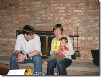 1st henry bday - fireside chat with mom and dad