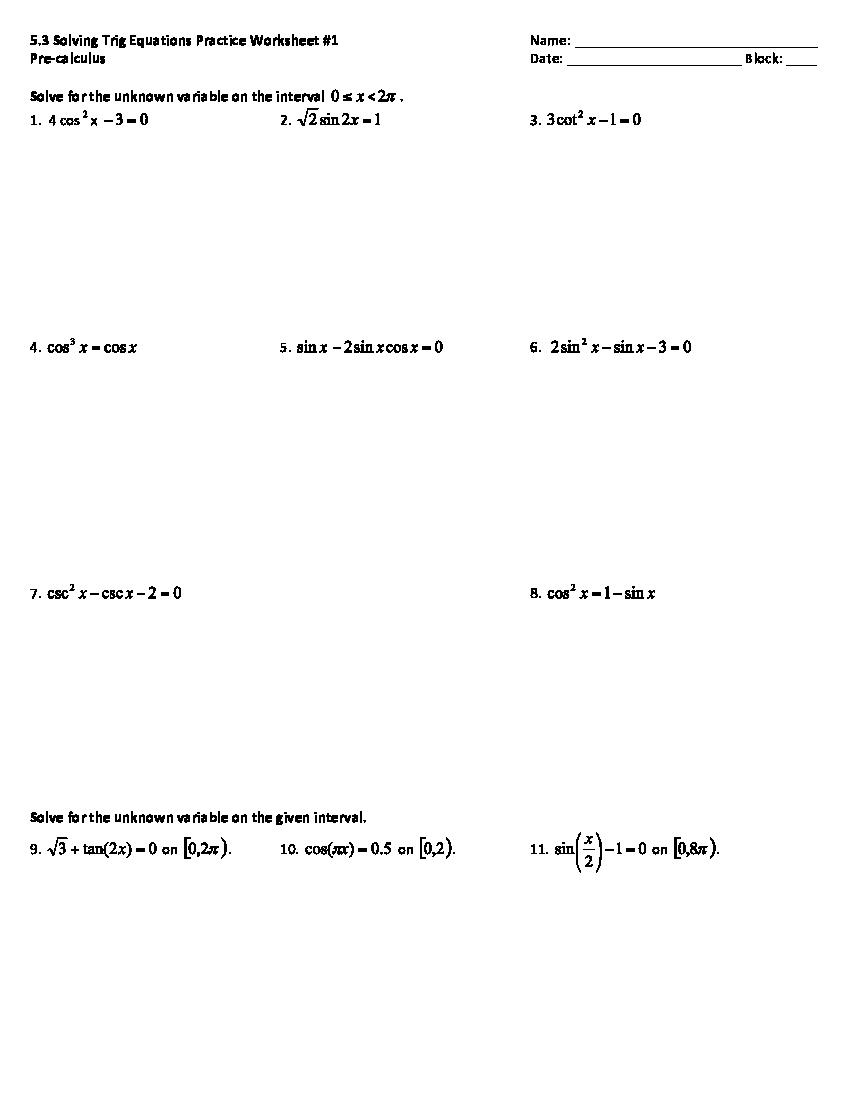 HARD Trig Equations Worksheet - YouTube
